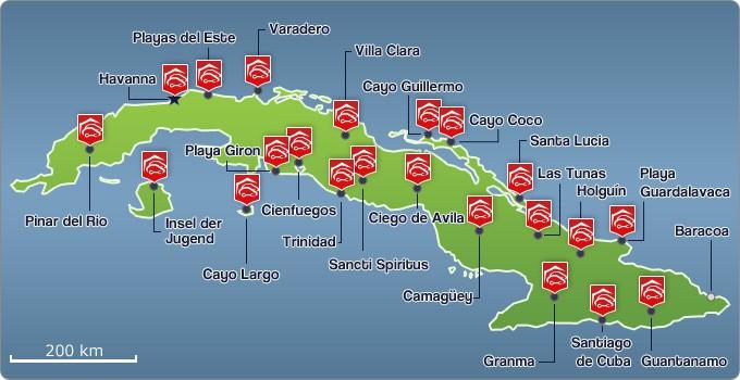 Orte mit Mietstationen der Agentur Cubacar