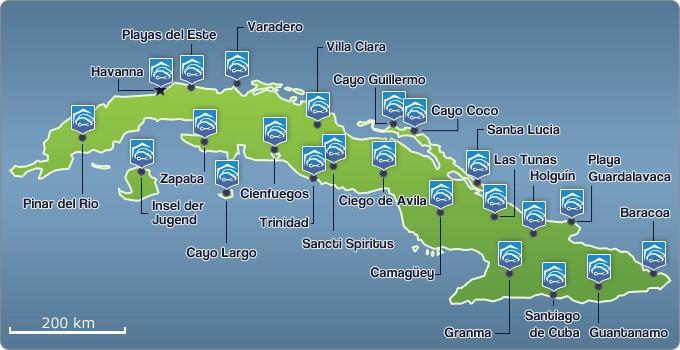 Karte der Orte/Regionen mit Mietwagenstationen